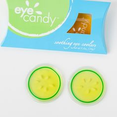You don't have to be near a fridge. These eye coolers can be chilled in a glass of iced water.
