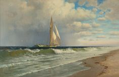 Francis Augustus Silva - At Coney Island offered by Avery Galleries on InCollect A4 Poster, Poster Prints, Hudson River School, Last Minute Christmas Gifts, Coney Island, Vintage Artwork, Paintings For Sale, Beautiful Artwork, Fine Art