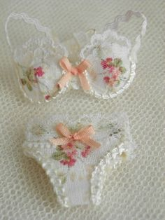 Dollhouse Miniature Bra with Panties in 1:12 scale