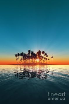 ✯ Silhouette Of Turquoise Island Sunset