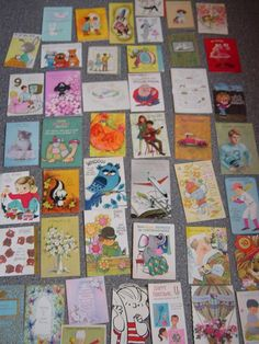 LOT OF 45  VINTAGE 1960'S BIRTHDAY & GET WELL GREETING CARDS USED SCRAPBOOKING