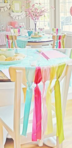 Lots of party styling ideas for a great bridal shower, baby shower, brunch,or party: including this Ribbon tied to the backs of the chairs.