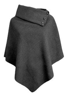 Women Poncho Coat Funnel Neck Wool Blend.  Too bad I can't wear wool, ha
