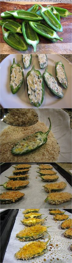 Ingredients: 12 jalapenos, sliced in half lengthwise, seeds & membranes removed 4 oz. neufchatel light cream cheese, softened 5 medium scallions, only the green pa Healthy Snacks, Healthy Eating, Healthy Recipes, Delicious Recipes, Easy Recipes, Brunch Recipes, Appetizer Recipes, Fingers Food, Gastronomia