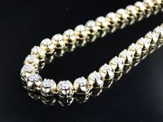 0ce730c5b17 Mens Prong Set 1 Row Genuine 7 MM Diamond Chain Necklace in 10k Yellow Gold  9