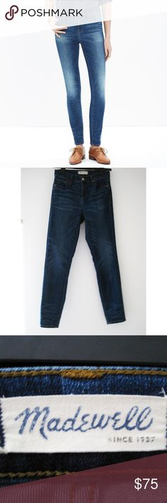 """Madewell 9"""" High-Rise Skinny Jeans Dayton Wash 25 Lean and sexy with a 9"""" rise featuring bright indigo wash with subtle distressing. Sit above hip, fitted through hip and thigh, with a slim leg. Has lots of stretch. Excellent condition-worn 3x. Smoke/pet-free home. Feel free to ask questions! All images are my own except for the 1st and last photo. Credited to Madewell online image. Waist (flat): 27"""" Hip: 33"""" Front Rise: 9 1/4"""" Back Rise: 14 3/4"""" Outseam: 36 3/4"""" Inseam: 28"""" Madewell Jeans…"""