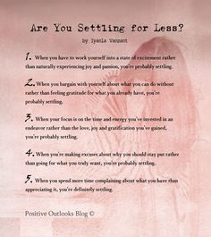 Are you settling for less?