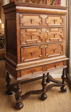 17th Century William & Mary Chest on Stand | From a unique collection of antique and modern cabinets at https://www.1stdibs.com/furniture/storage-case-pieces/cabinets/