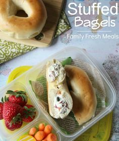 50 healthy work lunch ideas - FamilyFreshMeals.com - Stuffed Bagel packed for lunch!