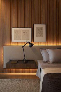 Bedroom Bed Design, Modern Bedroom Design, Home Interior Design, Bedroom Decor, Bedroom Interiors, Modern Bedrooms, Interior Lighting Design, 60s Bedroom, Bedroom Mirrors
