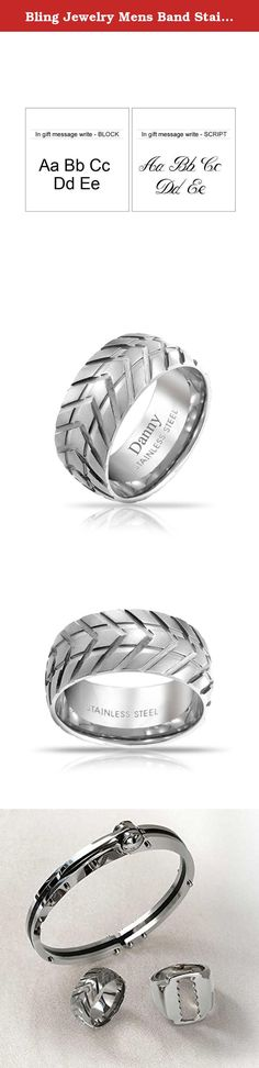 Bling Jewelry Mens Band Stainless Steel Tire Tread Style Grooved Ring. Perfect for the car or bike enthusiast in your life, this Tire Ring is a radical piece from our line of mens stainless steel rings. This mens band features a grooved tread finish that provides this stainless steel band with a truly unique finish. Those with an interest in cars, motorcycles, trucks, or any other automotive hobby will definitely love. So, give your loved one this mens ring for their Birthday, Fathers Day...