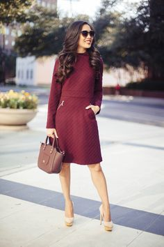 maggy,london,diamond,knit,dress,a,line,dress,ellen,fit,and,flare,sweater,burgundy,dark,cherry,maroon,fall,fashion,style,work,office,with,pockets,zippers,mock,neck,holiday,party,dresses,ivanka,trump,tribeca,satchel,bp,sunglasses,charlotte,olympia,suede,heels,dolly,dallas,uptown,