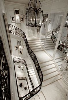 Staircase in Beaux Arts Ralph Lauren Flagship store on Madison in NYC.