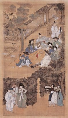 (Korea) Banquet in the back garden from holding screens of 1778 by Kim Hong-do Guimet museum of France. Korean Painting, Chinese Painting, Chinese Art, Korean Art, Asian Art, Korean Traditional, Traditional Art, Korean Picture, Indigenous Art