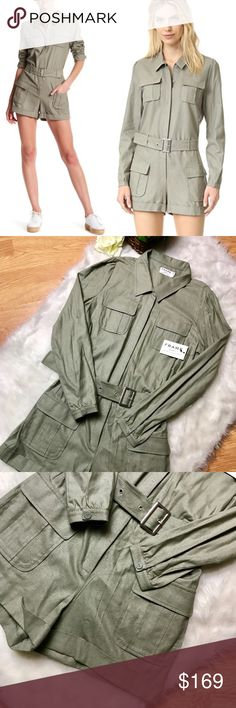 NWT! FRAME Denim Green Cargo Style Romper - Small Edgy chic light olive green cargo style romper with long sleeves and cuffed bottoms on the shorts. These are perfect for dressing up or down since it's the whole outfit, only have to worry about the accessories! Very comfortable, made from silk material that feels like cotton!  Women's size small Waist: 17.5 inches across Inseam: 3 inches long  Rise: 11 inches (waist to bottom of center seam) Length: 33 inches long  Sleeves: 25 inches long…