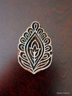 Hand Carved Indian Wood Textile Stamp Block - Floral/Leaf Motif via Etsy