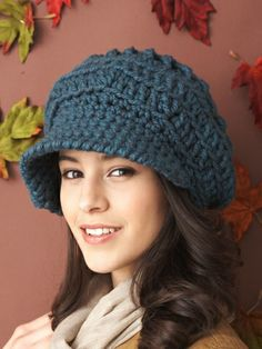 Slouchy Peaked Hat | Yarn | Free Knitting Patterns | Crochet Patterns | Yarnspirations