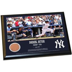 Derek Jeter Moments Derek Jeter 3000th Hit 8 Inch X 10 Inch MLB Authentic Yankee Stadium Game Used Dirt Plaque Celebrating his 3000th Hit MLB Authenticated *** Click image for more details. (Note:Amazon affiliate link) #SportsStadiumComponents