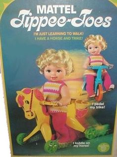 I had this doll on her bike!!!!   There is even a picture of me and her on the birthday when I got her!  MATTEL: 1967 Tippee-Toes Doll #Vintage #Toys