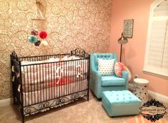 Gold and Coral Nursery with Floral Wallpaper Accent Wall - #ProjectNursery