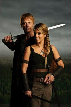 Ben Daniels as Tristan & Miranda Raison as Isolde Merlin Series, Merlin Cast, Bbc Tv Series, Gwaine Merlin, Bradley James, Colin Morgan, Merlin And Arthur, King Arthur, Miranda Raison