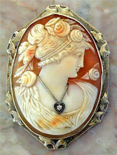 1880s Victorian 14k Gold,Diamond CAMEO Pin