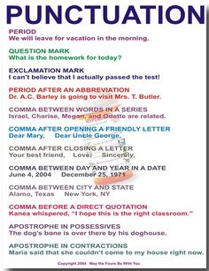 Explains beginning and advanced punctuation. Can be a handout for students to refer to, or a overhead.