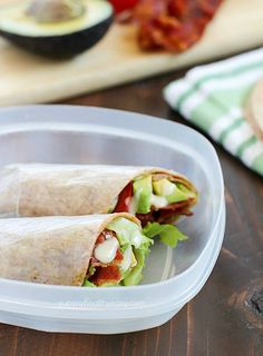 Bacon, Lettuce, Avocado and Tomato Wrap for lunch! http://www ...