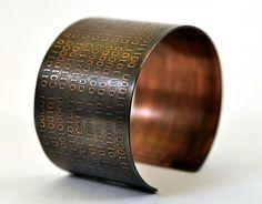 Binary Code Cuff Bracelet in Copper by KarlaWheelerDesign on Etsy Jewelry Accessories, Unique Jewelry, Jewelry Ideas, Jewelry Box, Work Hardening, Metal Embossing, Cyberpunk Fashion, Copper Cuff, Cuff Bracelets