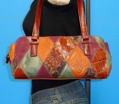 FOSSIL Small Patchwork Multi-Color Leather Shoulder Zip Top Tote Purse Bag #Fossil #ShoulderBag