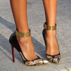 christians, fashion shoes, style, christian louboutin shoes, black gold, cuffs, killer heels, christianlouboutin, gold shoes
