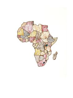 Africa Map  Original Watercolor Painting 8x10 by SarahWormann, $17.00