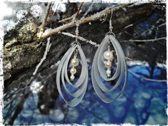 Upcycled Recycled Repurposed Milk Jug earrings - Bridesmaid gift - Bridal jewelry - Recycled jewelry - Salvaged jewelry