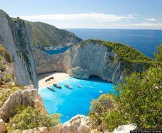 Navagio Beach in Greece aka Shipwreck Beach