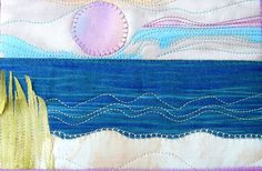 Beach and Ocean Sunset Fabric Postcard Art Quilt by SewUpscale, $12.00