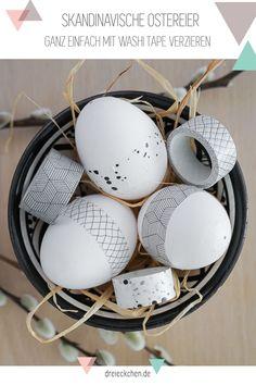 skandinavische Ostereier - ganz einfach mit Washi Tape verzieren in schwarz-weiß