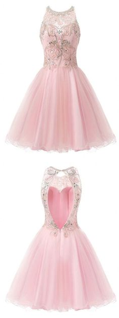 A-Line Round Neck Sleeveless Open Back Pink Short Prom Dress with Lace Beading