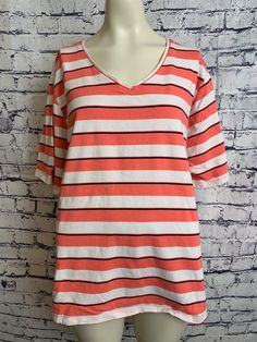 4086902b39b Details about Liz   Me Plus Size 2X 22 24 Pink White Shirt V Neck Short  Sleeve Pullover Top