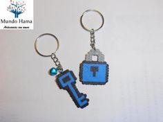 llavero candado y llave hama  hama beads mini,anilla de llavero planchado