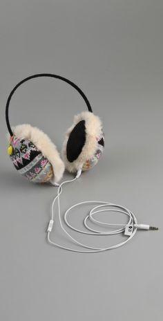 Christmas stocking fillers & ideas: Print Crochet Ear Warmer For Running - Crochet Ear Warmer With Speaker Headphones Gadgets And Gizmos, Earmuffs, Stocking Fillers, Ear Warmers, Iphone, Juicy Couture, Cool Stuff, Stuff To Buy, Faux Fur