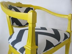 Queen Ann Chairs (Canary Yellow with Charcoal and White Large Chevron design)