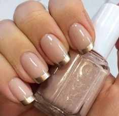 50 Awesome French Tip Nails to Bring Another Dimension to Your Manicure - Most beautiful Nail models Gold Tip Nails, Gold Nail Art, Nude Nails, My Nails, Gold Manicure, Gold Art, Nails With Gold, Acrylic Nails, French Manicure Nail Designs