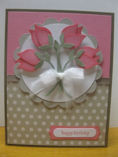 "Gorgeous Tulip Bouquet Card.  Featuring the Stampin' Up! ""Bird Builder"" punch.  ♥♥♥"