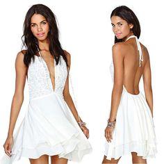$  V-neck Slim Chiffon Dress