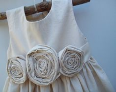 Flower girl dress ..Cedar... Natural Cotton