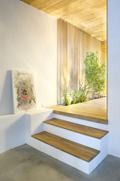 Home & Apartment, Modern Interior Design Ideas With Interior Wooden Steps Abstract Picture On The White Wall Marble Flooring Wooden Flooring Design Wooden Ceiling Design Interior Garden Ideas Fresh Room Living Space Design: Charming Industrial Home with Interior Planting and Transparent Walls