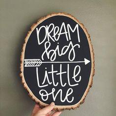 Dream big! Darling #woodslice by @lovewellhandlettering. #walnuthollow