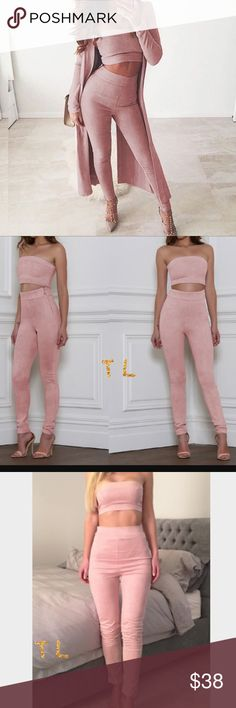 """Blush Pink tube top high waist pant faux suede set •brand new  •ships tomorrow •brand: Timeless Look •no trades  •top quality - body hugging fit - true to size   •small 2-4 bottoms top 32-34 a-d •material: 5% cotton 95% polyester Super awesome for a night out or an activity - wow everyone with this set  Model: pic 2 timeless.look in insta 📸 pic 3 @sorayabergs •selling my last size here  For more info: please visit """"Closet Rules"""" Tops"""