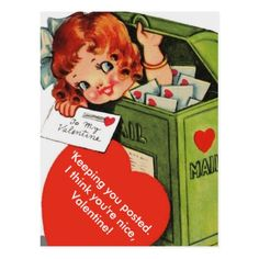 Cute Altered Vintage Girl in Mailbox Valentine Postcard - tap to personalize and get yours