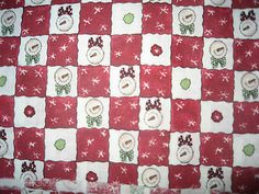 Christmas Checked/Snoman Faces Cotton Fabric/Red and White Checked  http://www.ebay.com/itm/181263957148?ssPageName=STRK:MESELX:IT&_trksid=p3984.m1555.l2649#ht_126wt_912